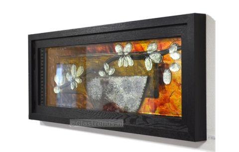 Wanddecoratie Op Glas.Wanddecoratie Glas Met Lijst Flowers
